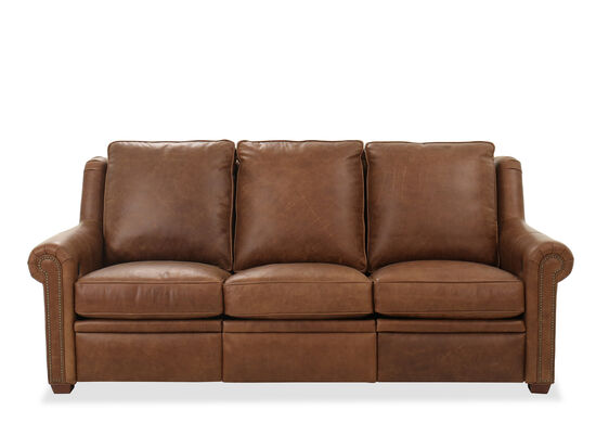 """Power Reclining Leather 75"""" Sofa in Brown"""