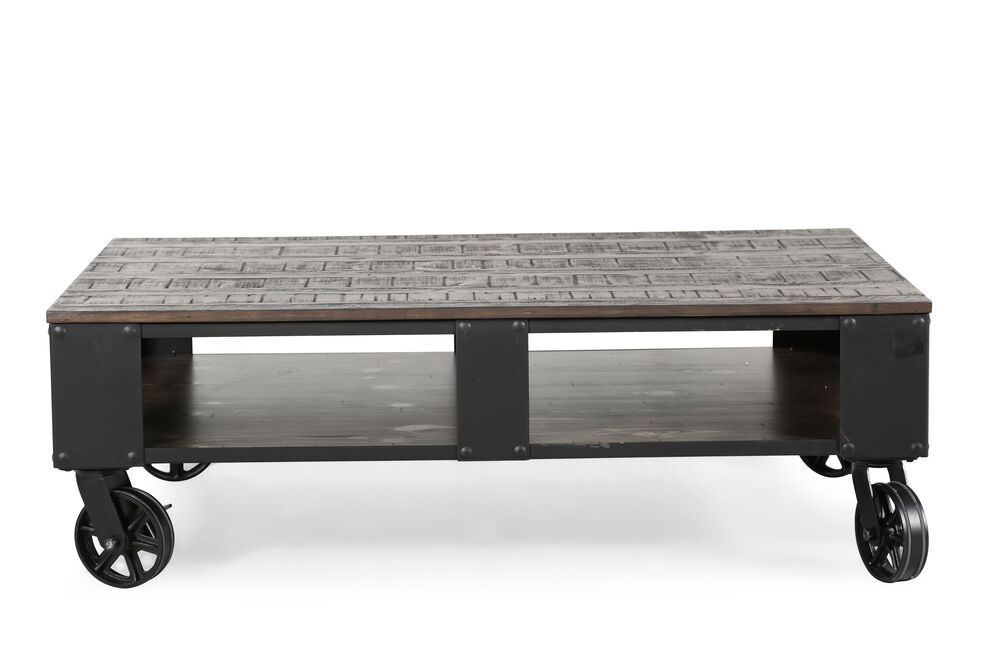 Rectangular Contemporary Wheeled Cocktail Table in Weathered Charcoal
