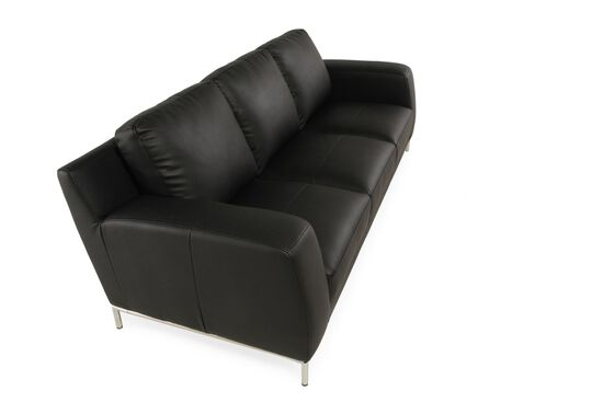 "Low-Profile Contemporary 85"" Sofa in Ebony Black"