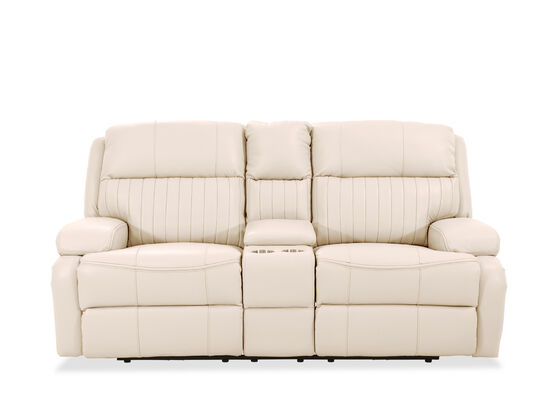 """80.50"""" Channel Pleated Leather Power Reclining Loveseat in Ivory"""