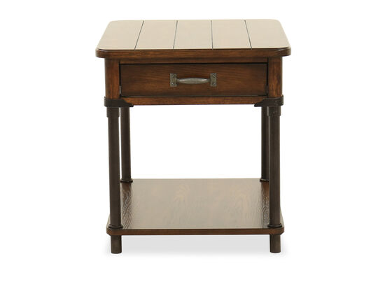 Square One-Drawer Traditional End Table in Warm Oak