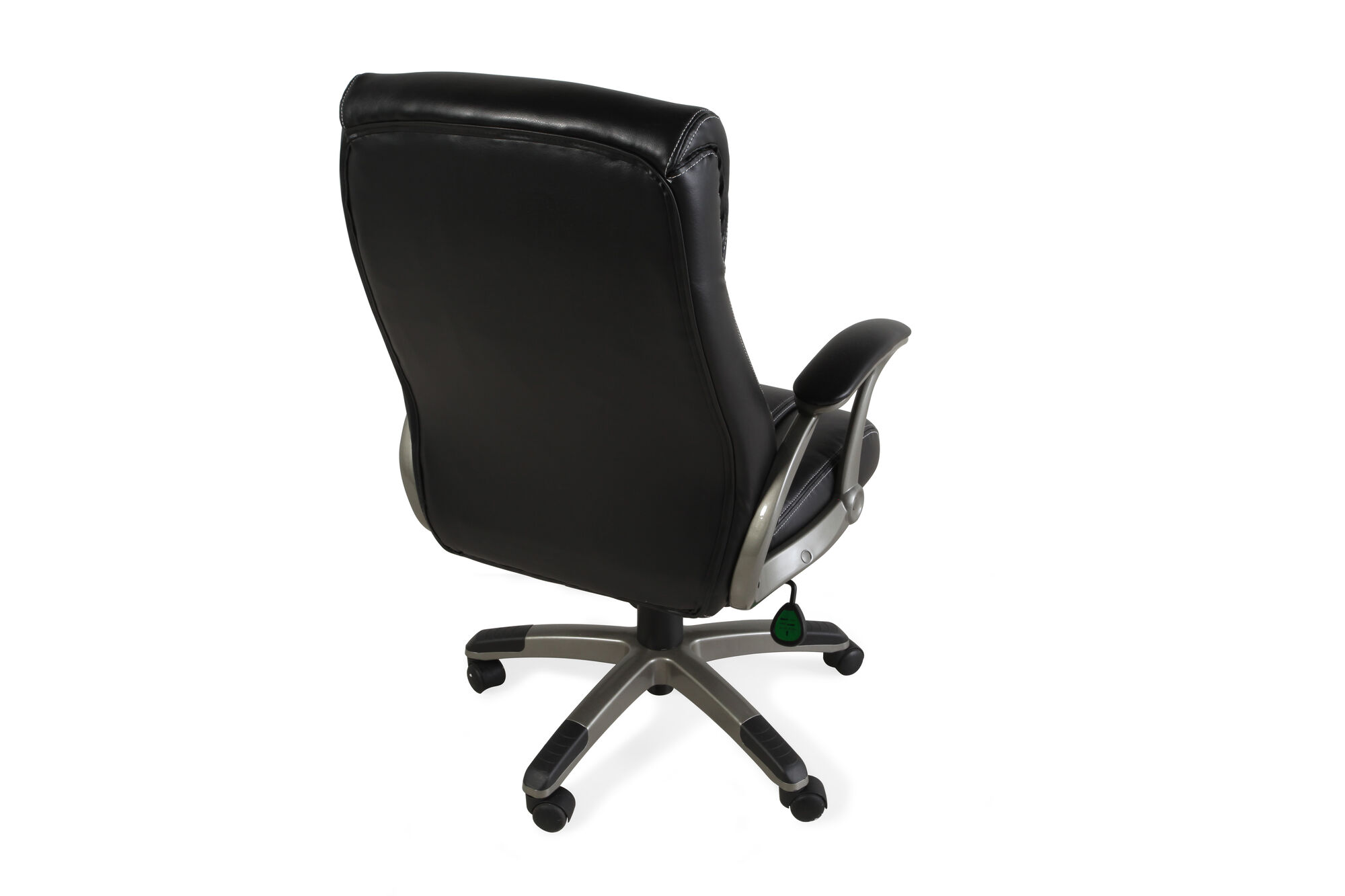 Pleated Leather Swivel Tilt Office Chair In Black Mathis