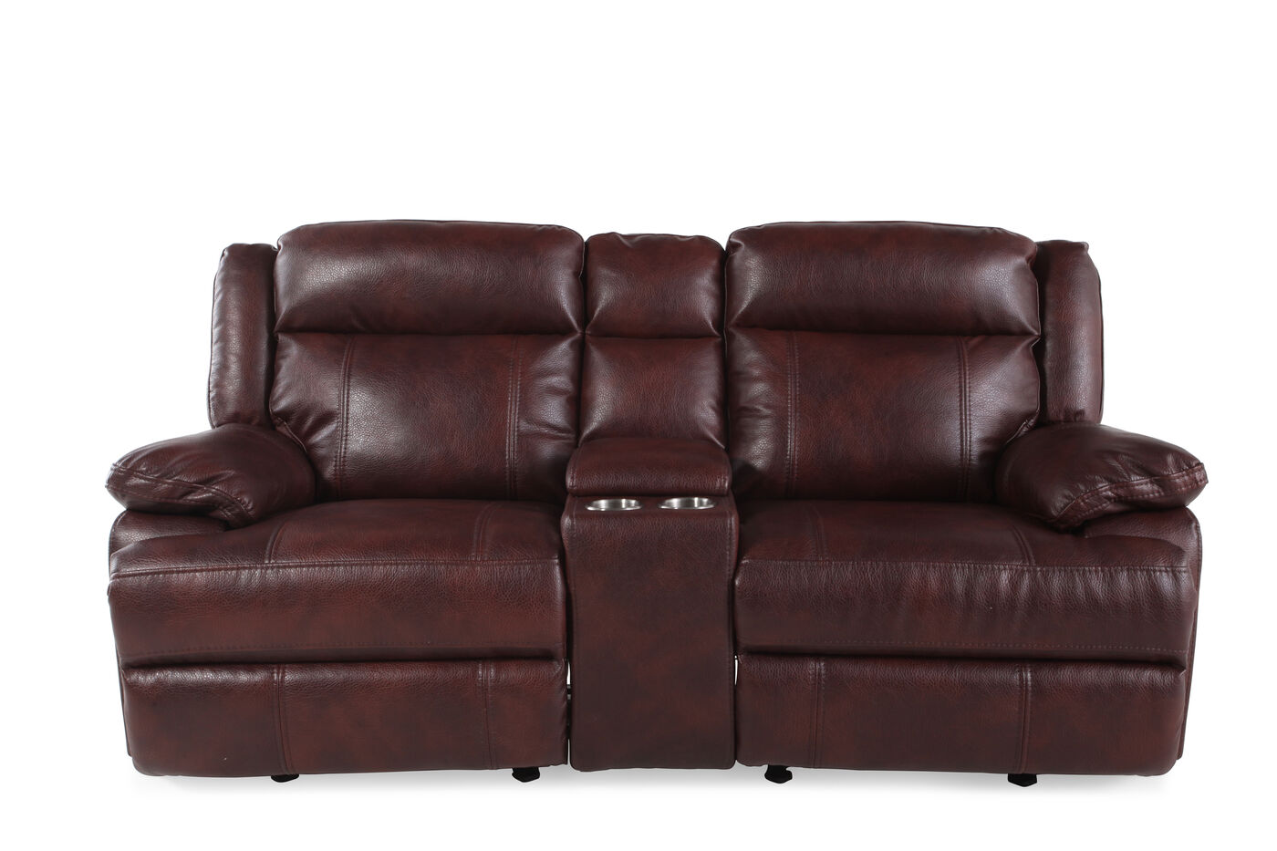 Reclining Contemporary 79 Loveseat Glider With Console In Dark Burgundy Mathis Brothers Furniture