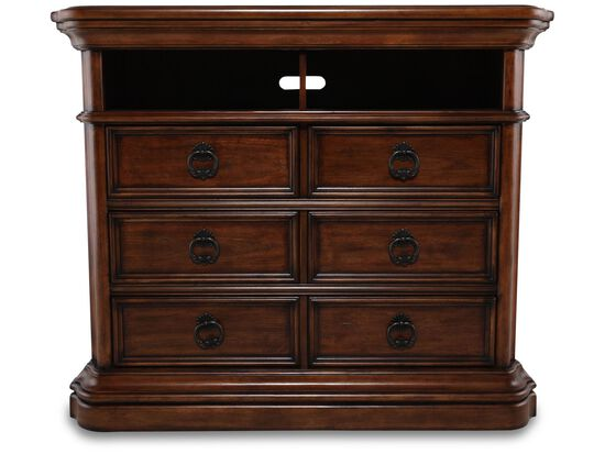 "44"" Traditional Paneled Media Chest in Brown"