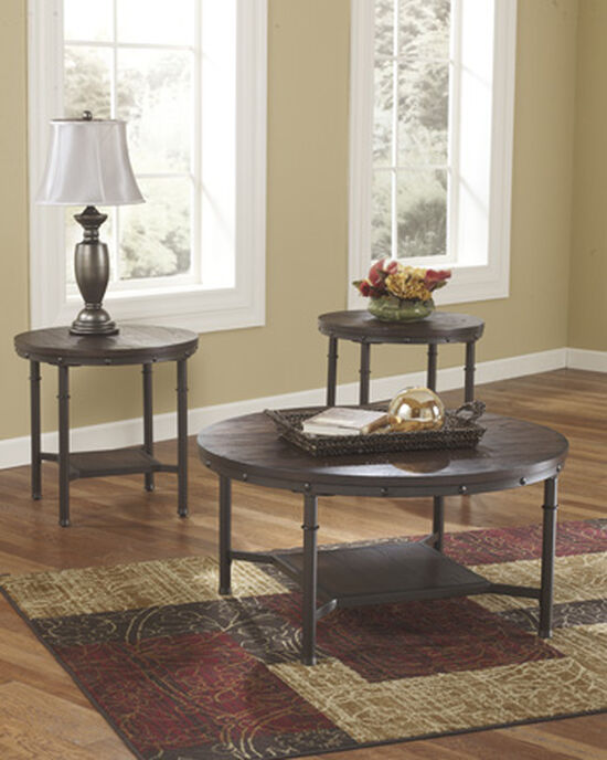 Three-Piece Nailhead Trim Casual Accent Table Set in Dark Brown