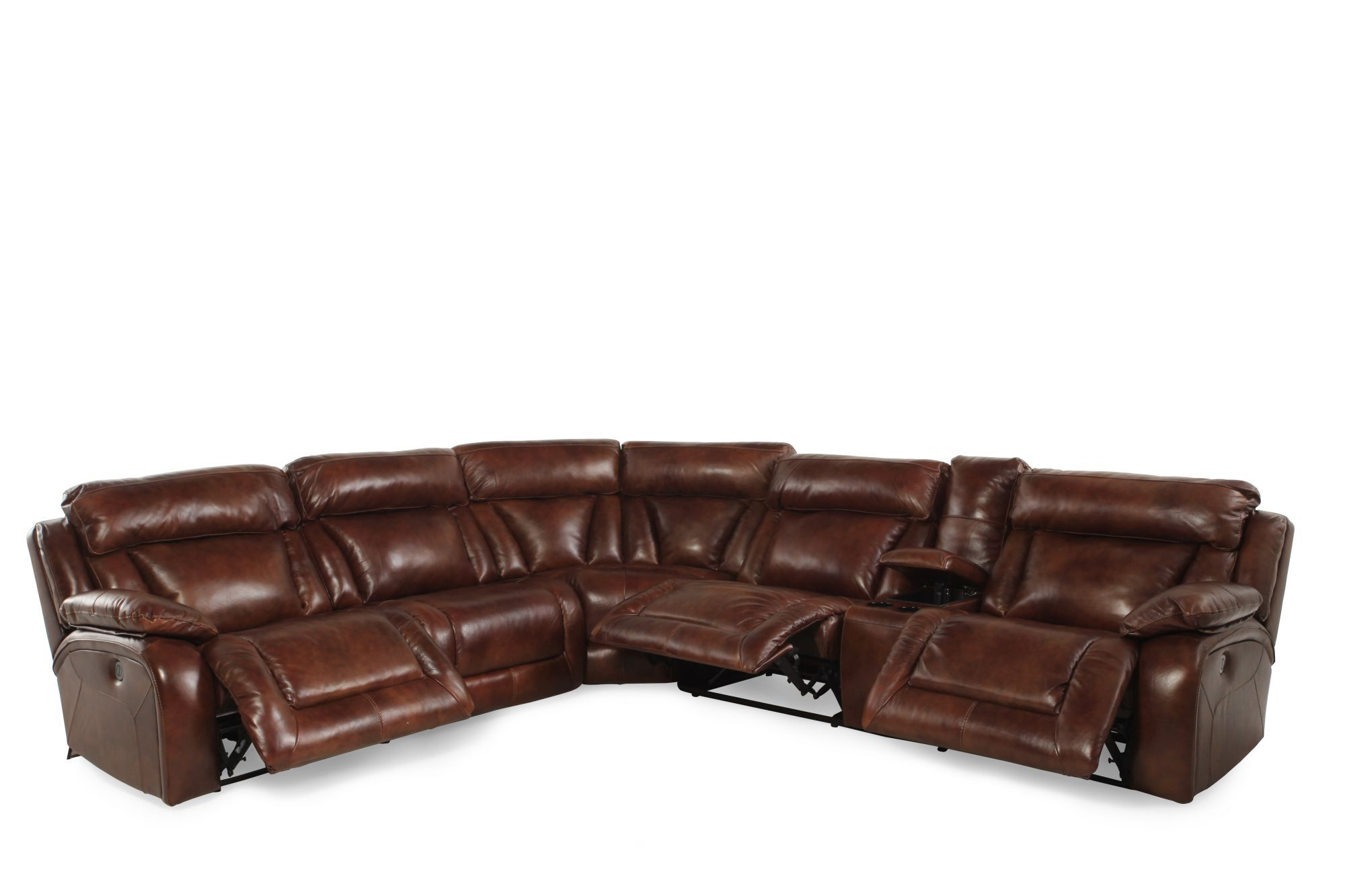 Leather Reclining Sectional In Deep Saddle Brown Mathis Brothers