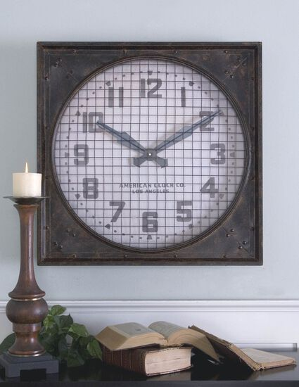 Hand-Forged Wall Clock with Grill in Mottled Rust Brown