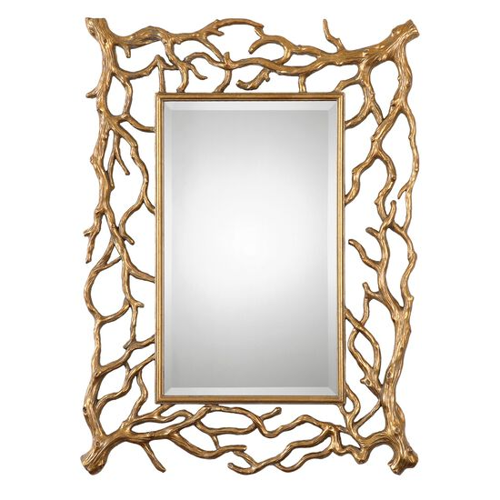 "40"" Tree Branch Frame Mirror in Antique Gold Leaf"