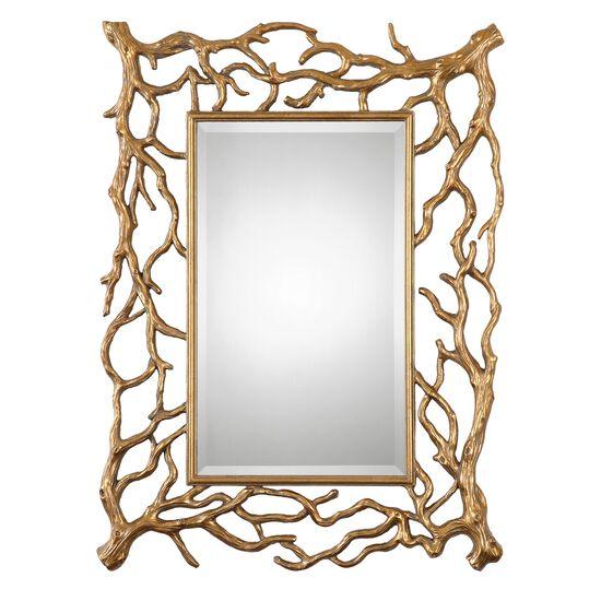 """40"""" Tree Branch Frame Mirrorin Antique Gold Leaf"""