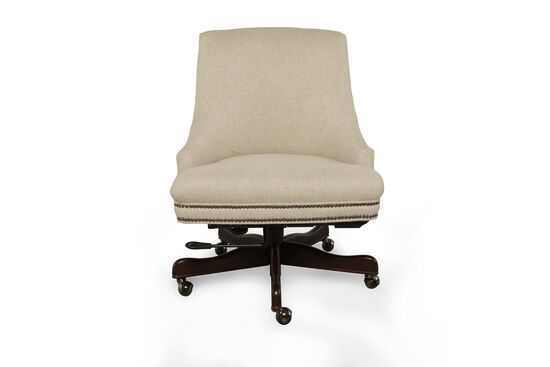 Linen Nailhead Trimmed Executive Chair in Dark Walnut