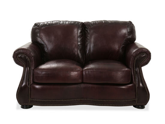 Nailhead-Accented Leather Loveseat in Brown