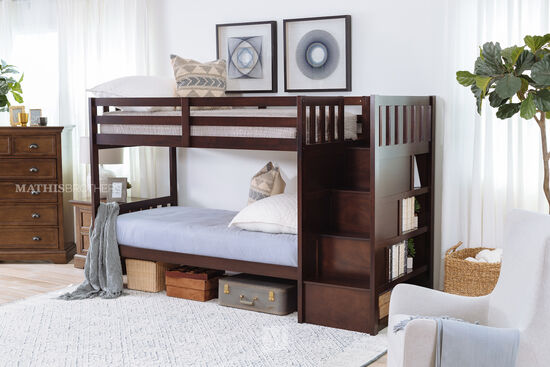 Traditional Youth Twin Over Twin Bunk Bed in Brown