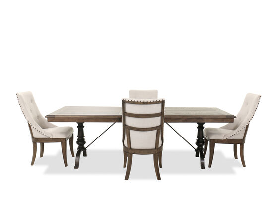 Traditional Five-Piece Dining Room Set in Heathered Brown
