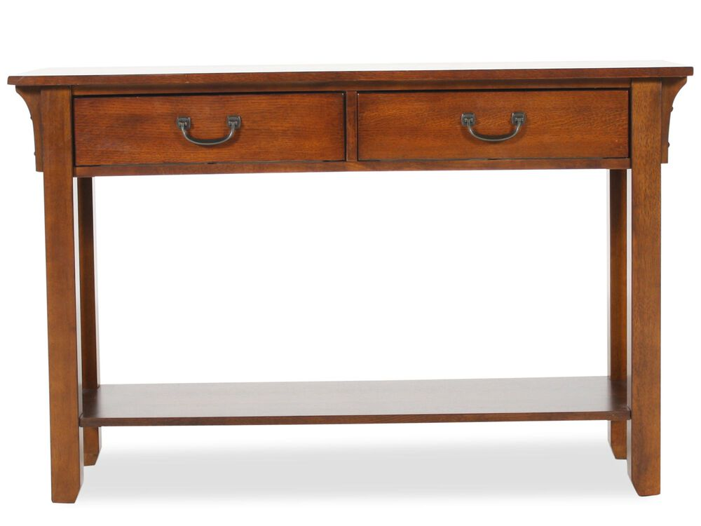 Two-Drawer Mission Sofa Table in Weathered Oak