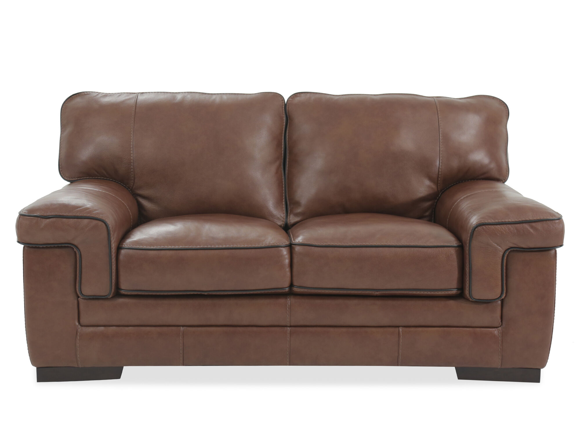 Casual Leather 69u0026quot; Loveseat In ...