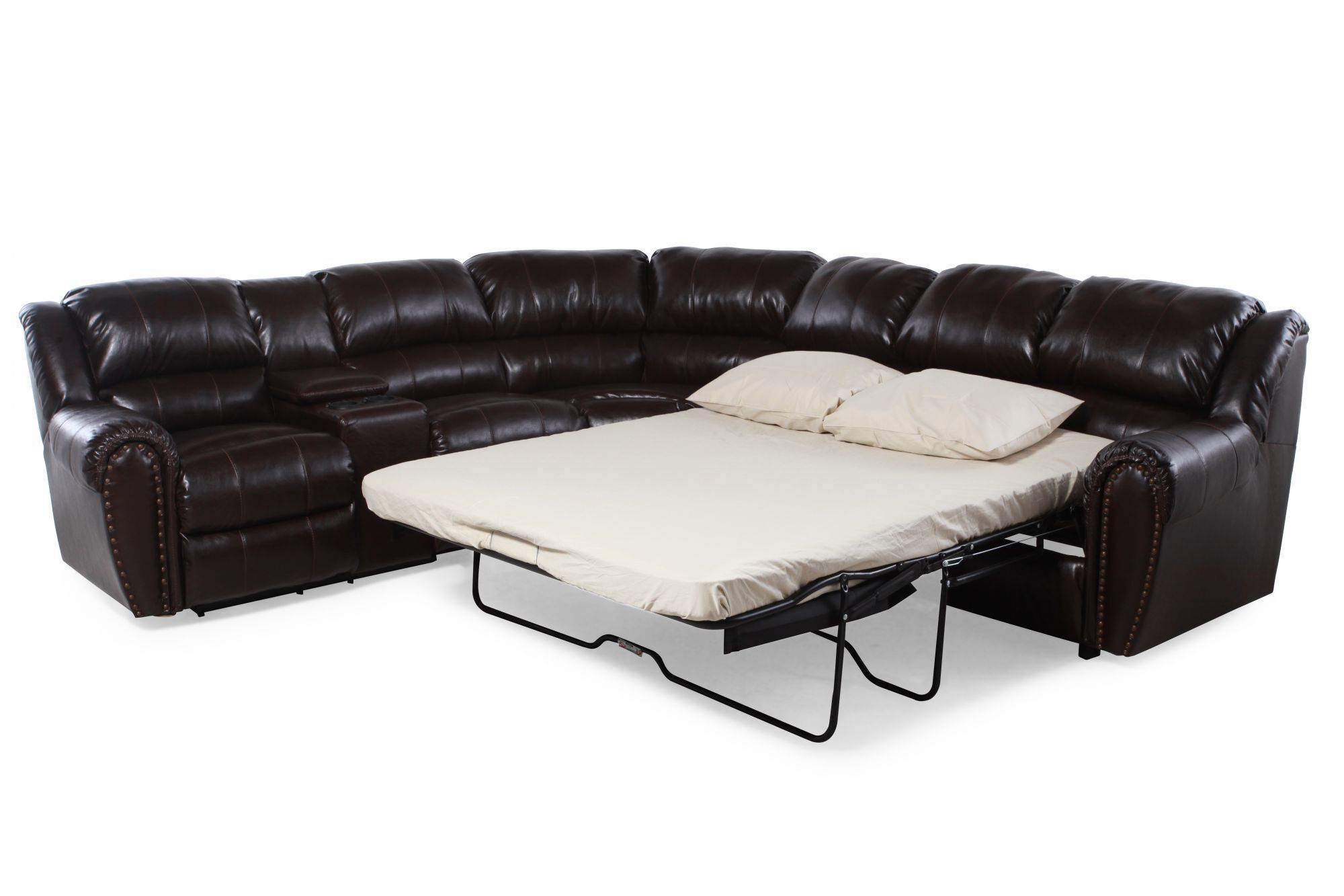 Casual Nailhead Accented Queen Sleeper Sectional In Dark Brown