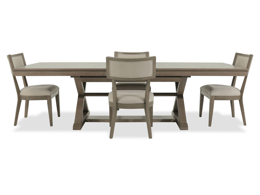 Navy And Gold Dining Room, Five Piece Modern 84 Dining Set In Brown Mathis Brothers Furniture