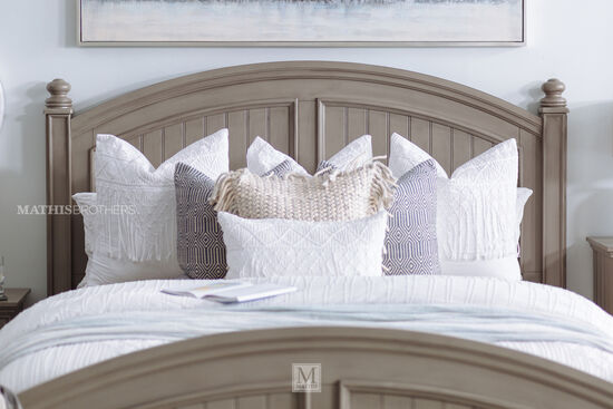 Casual Panel Bed in Khaki Gray