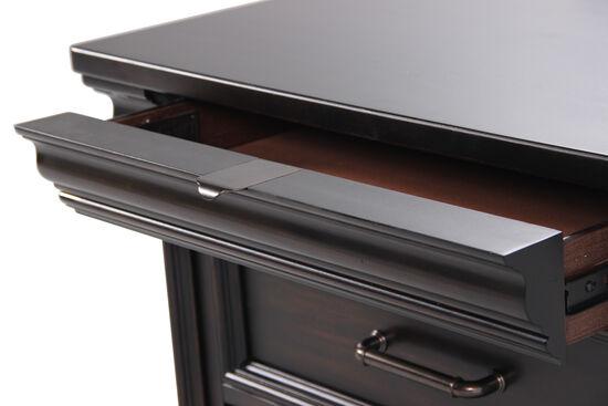 "29.5"" Traditional Distressed Three-Drawer Nightstandin Black"