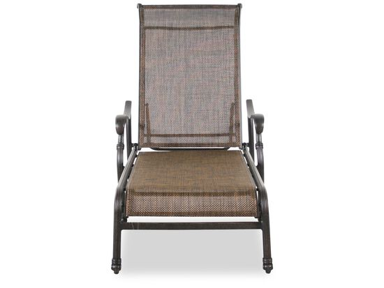 Screen-Back Aluminum Sling Chaise in Brown