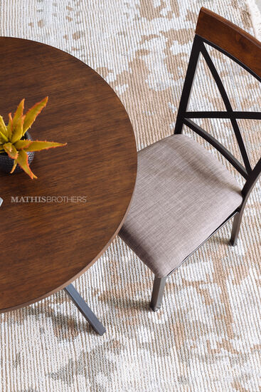 """Three-Piece Traditional 36"""" Round Dining Set in Brown"""