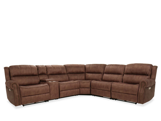 Contemporary Power Reclining Sectional in Brown