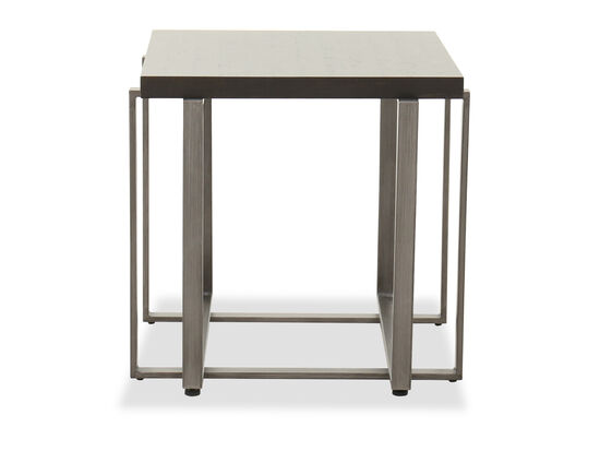 Rectangular Contemporary End Table in Brushed Metal