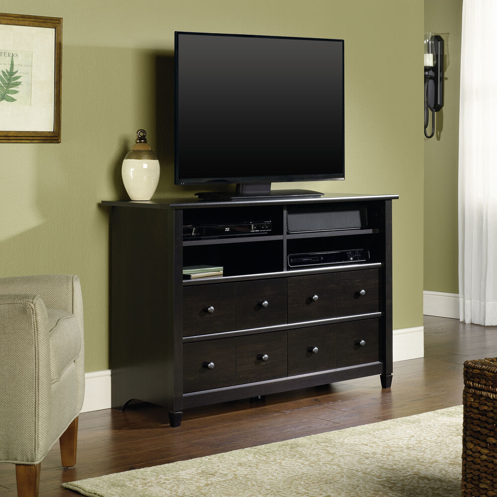 Four Drawer Transitional Tv Stand In Estate Black Mathis Brothers