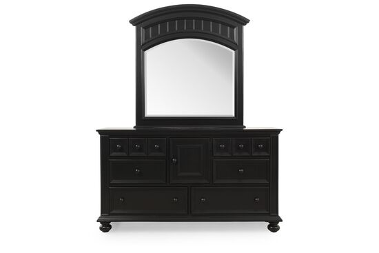 Two-Piece Casual Paneled Dresser and Mirror in Ebony