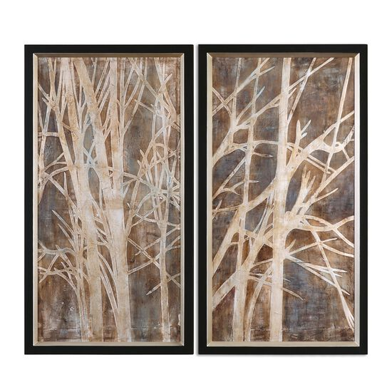 Two-Piece Hand Painted Twigs Framed Canvas Wall Art Set