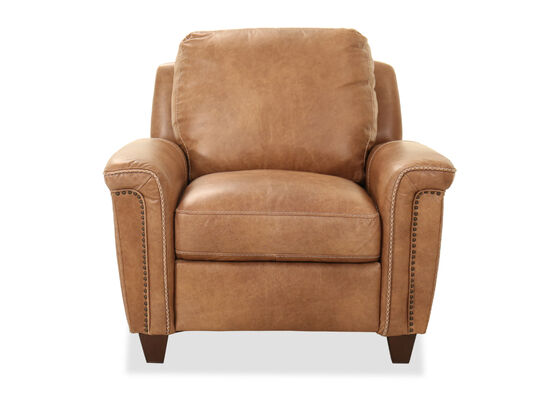 "40"" Nailhead Accent Leather Chair in Caramel"