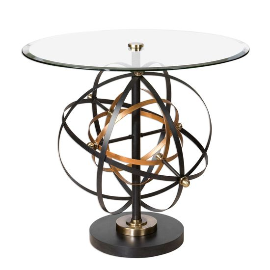 Orbital Sphere Detailed Glass Top Accent Table in Gold