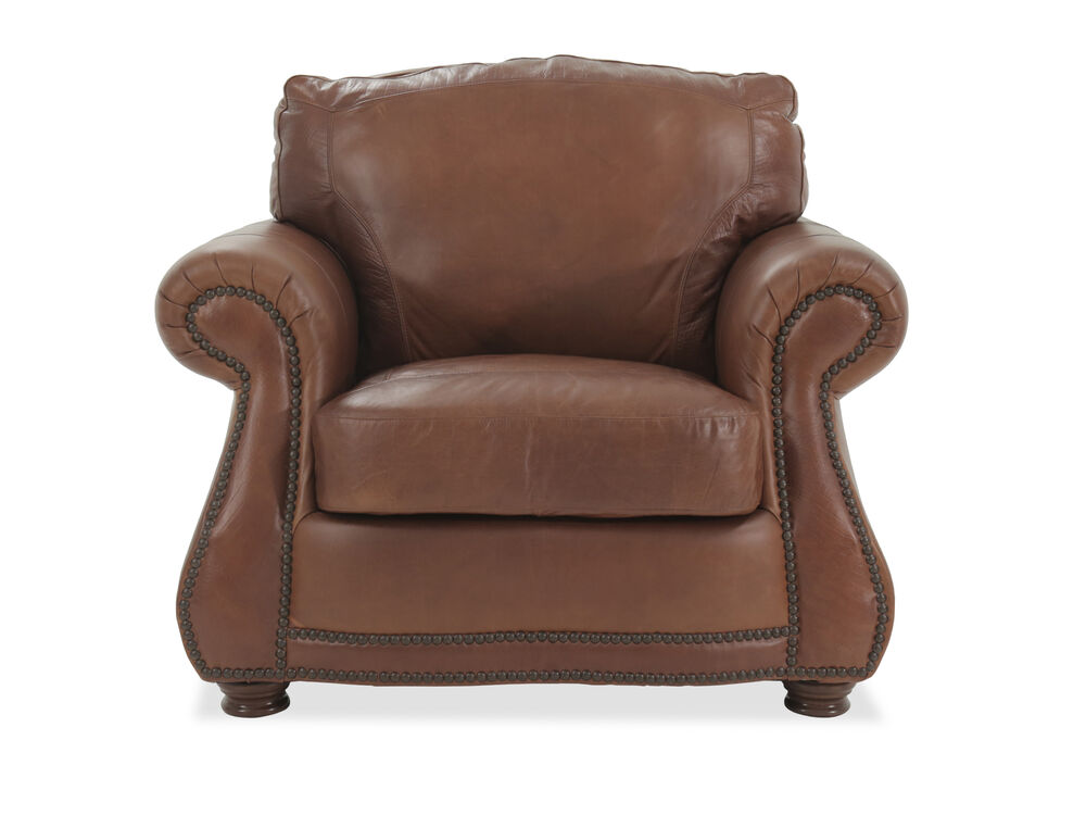 Croc Imprinted Traditional Leather Chair in Mahogany