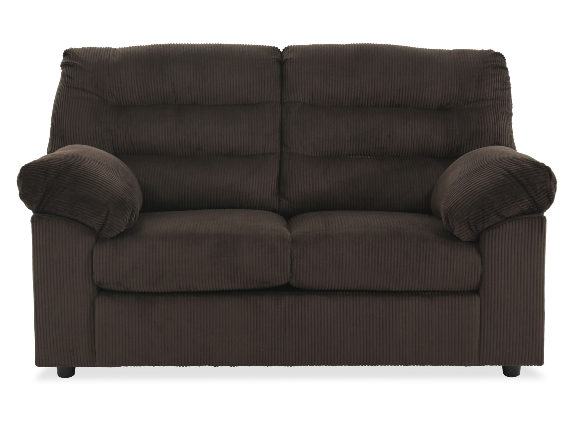 Rib Textured Contemporary 64 Quot Loveseat In Chocolate