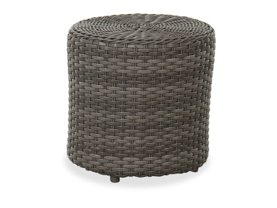 Round Contemporary Woven Patio End Table in Dark Gray
