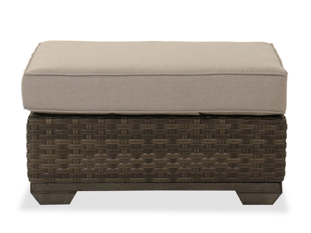 Contemporary Cushion Top Patio Ottoman In Brown Mathis Brothers Furniture