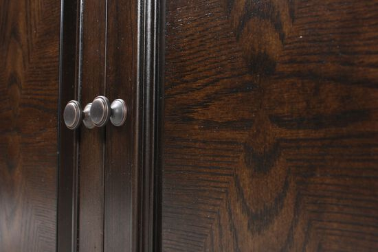 Two-Door Traditional Bookcase in Dark Brown