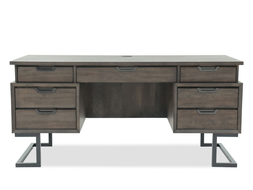 66 Mid Century Modern Seven Drawer Executive Desk In Dark Brown Mathis Brothers Furniture