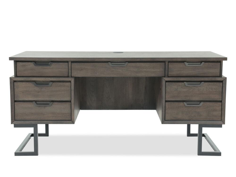 66 Mid Century Modern Seven Drawer Executive Desk In Dark Brown