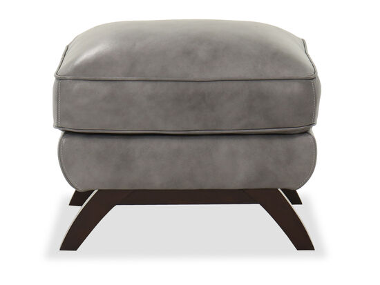 Casual Leather Pillow Top Ottoman in Gray