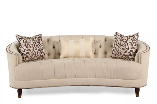 Button-Tufted Demilune Sofa in Cream