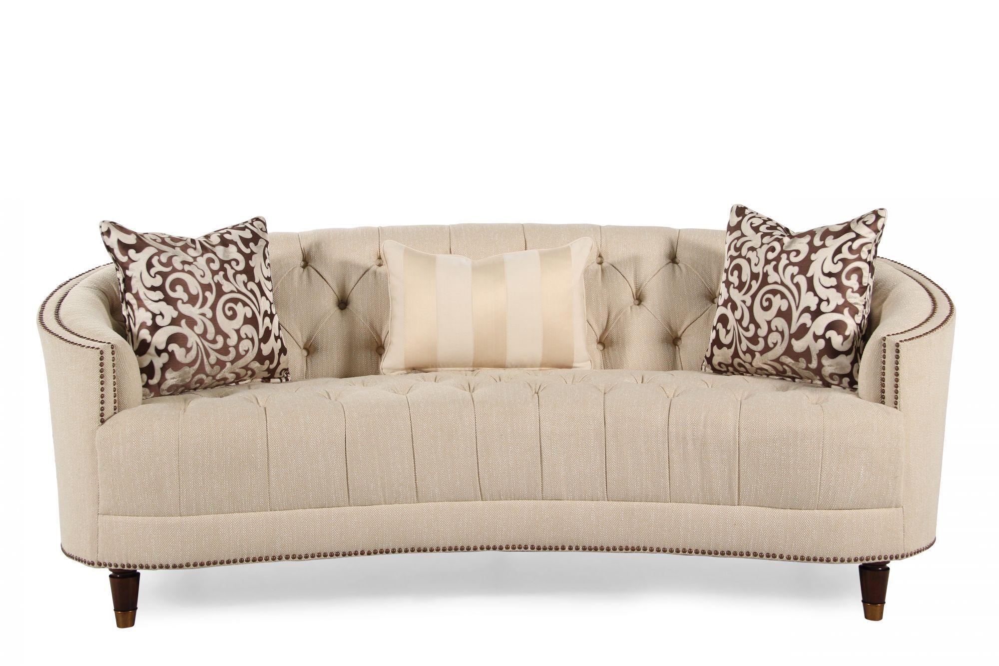 Images Button Tufted Demilune Sofa In Cream Button Tufted Demilune Sofa In  Cream