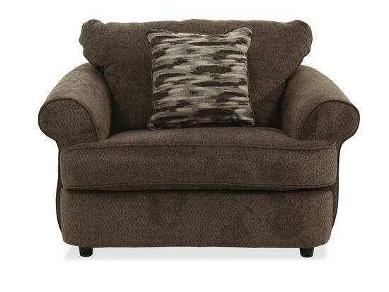 """Textured Casual 54"""" Chair and a Half in Brown"""