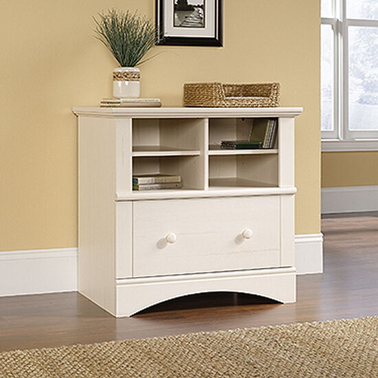 Two-Shelf Traditional Lateral File Cabinet in Antiqued White
