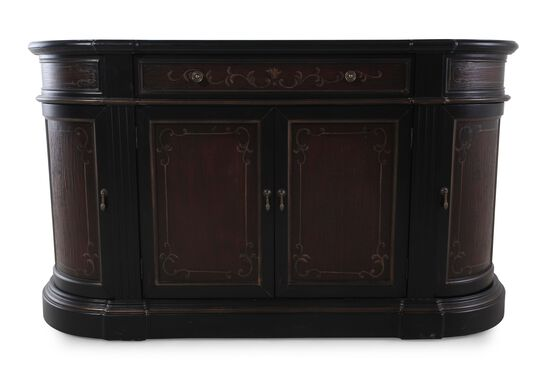 36'' Traditional Scroll-Accented Credenza in Black