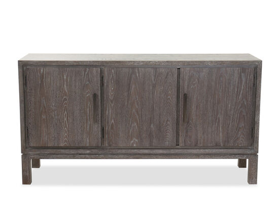 "Three-Door 64"" Contemporary Buffet in Cerused Gray"
