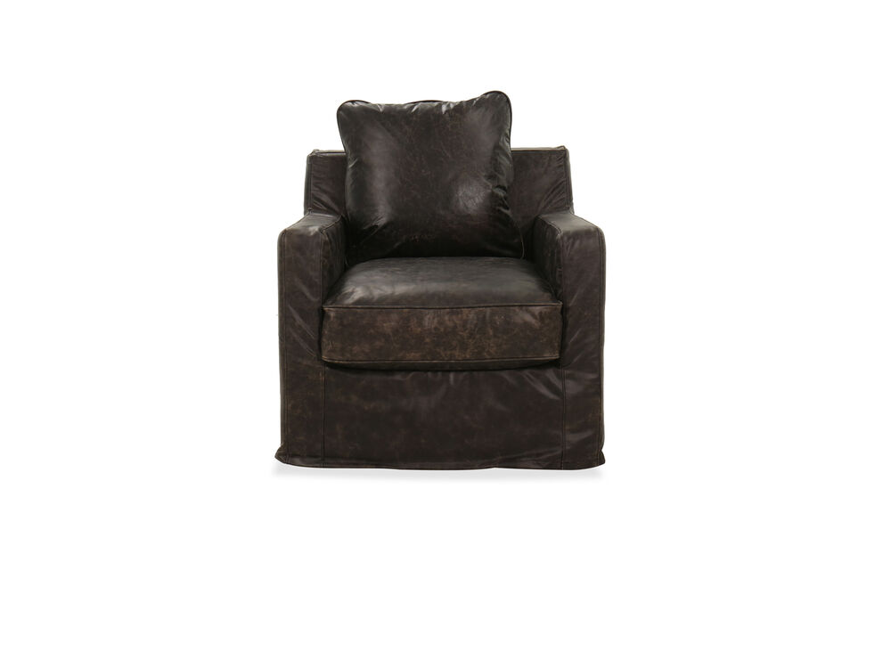 Leather Swivel Chair in Brown