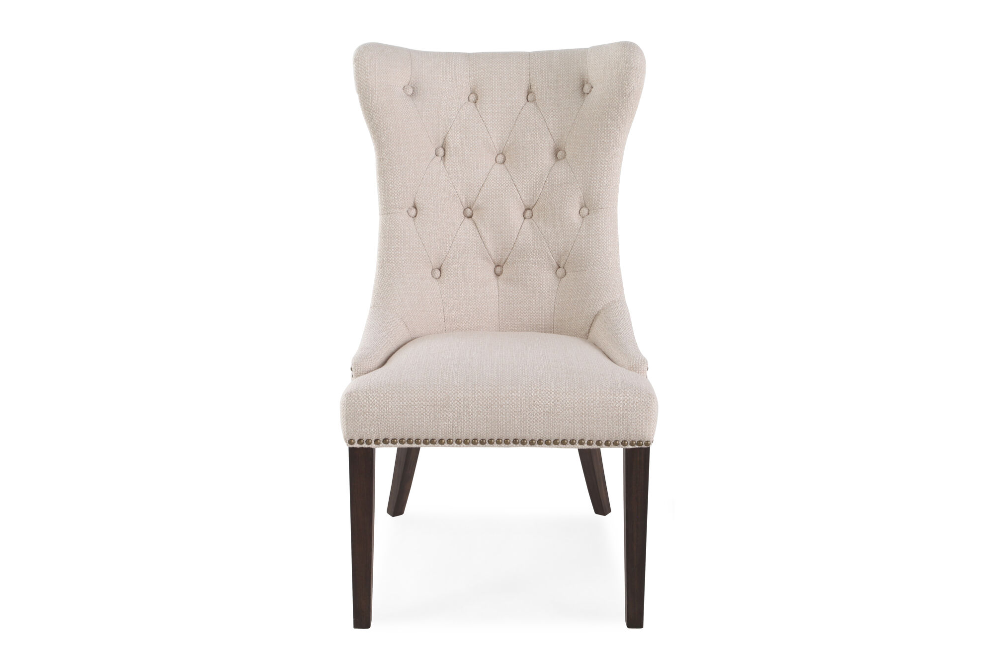 Button Tufted Back 23 Dining Chair In Oatmeal Mathis Brothers