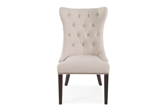 """Button-Tufted Back 23"""" Dining Chairin Oatmeal"""