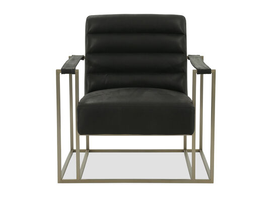 "Contemporary Leather 34"" Accent Chair in Black"
